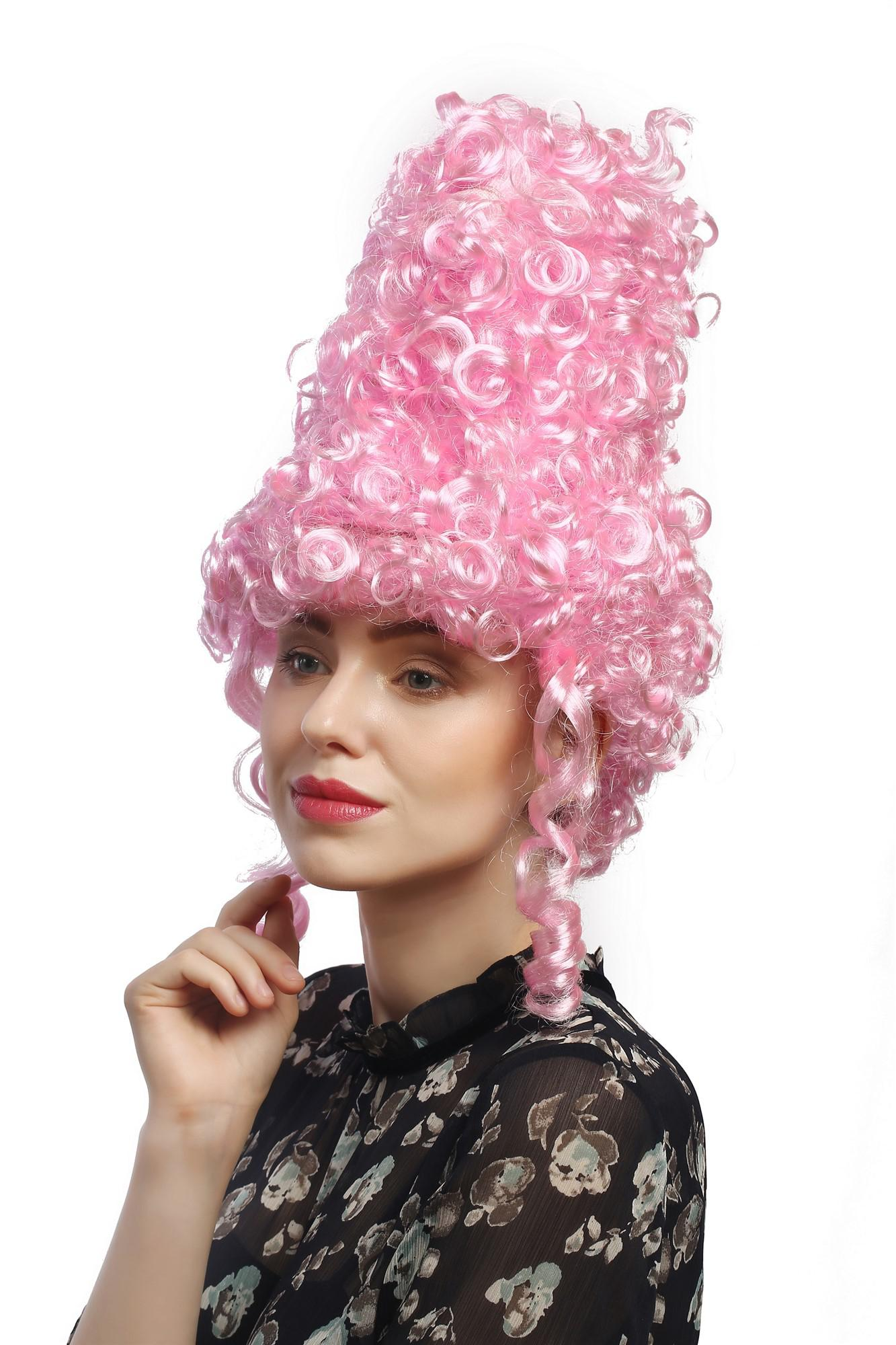 Perucke Damen Karneval Halloween Turmfrisur Beehive Barock Renaissance Rosa