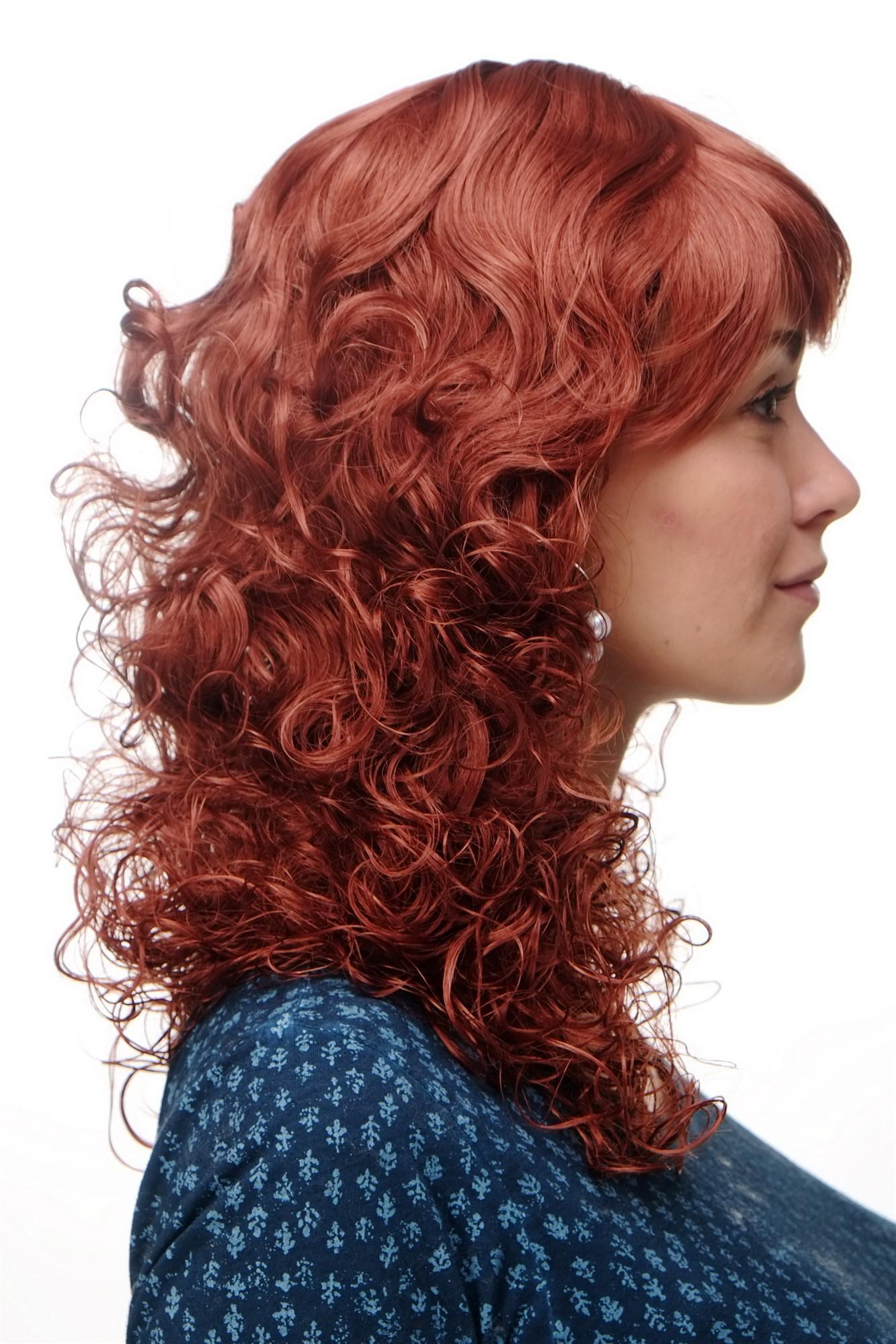 Perücke Neue Romantik Rote Haare Kupferrot Locken Gelockte Spitzen