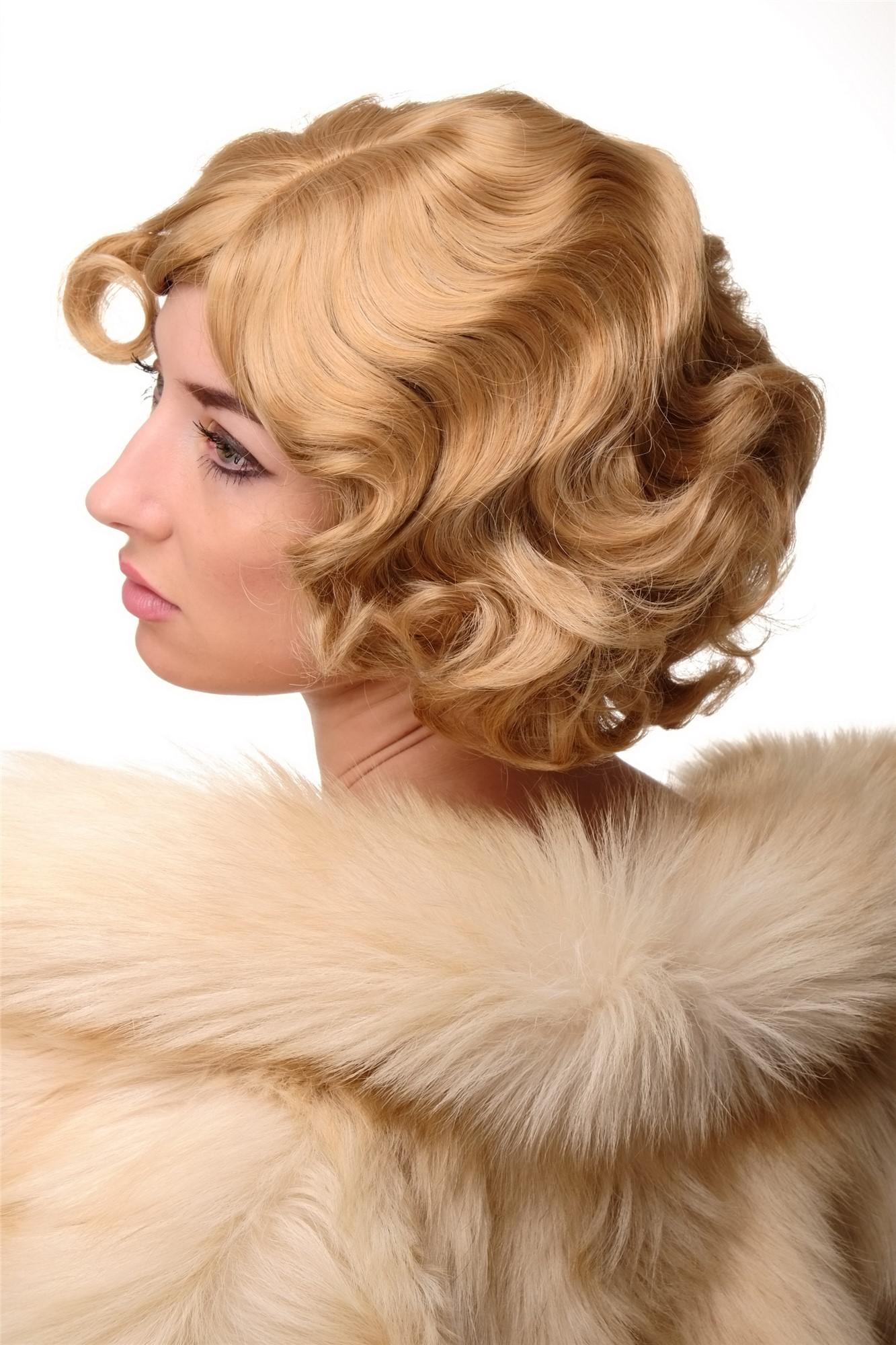 Shop für authentische 60% Freigabe 100% echt Damen Perücke 20er Jahre Swing Bob gewellt Perücke Blond ca. 25 cm  A4002-611B
