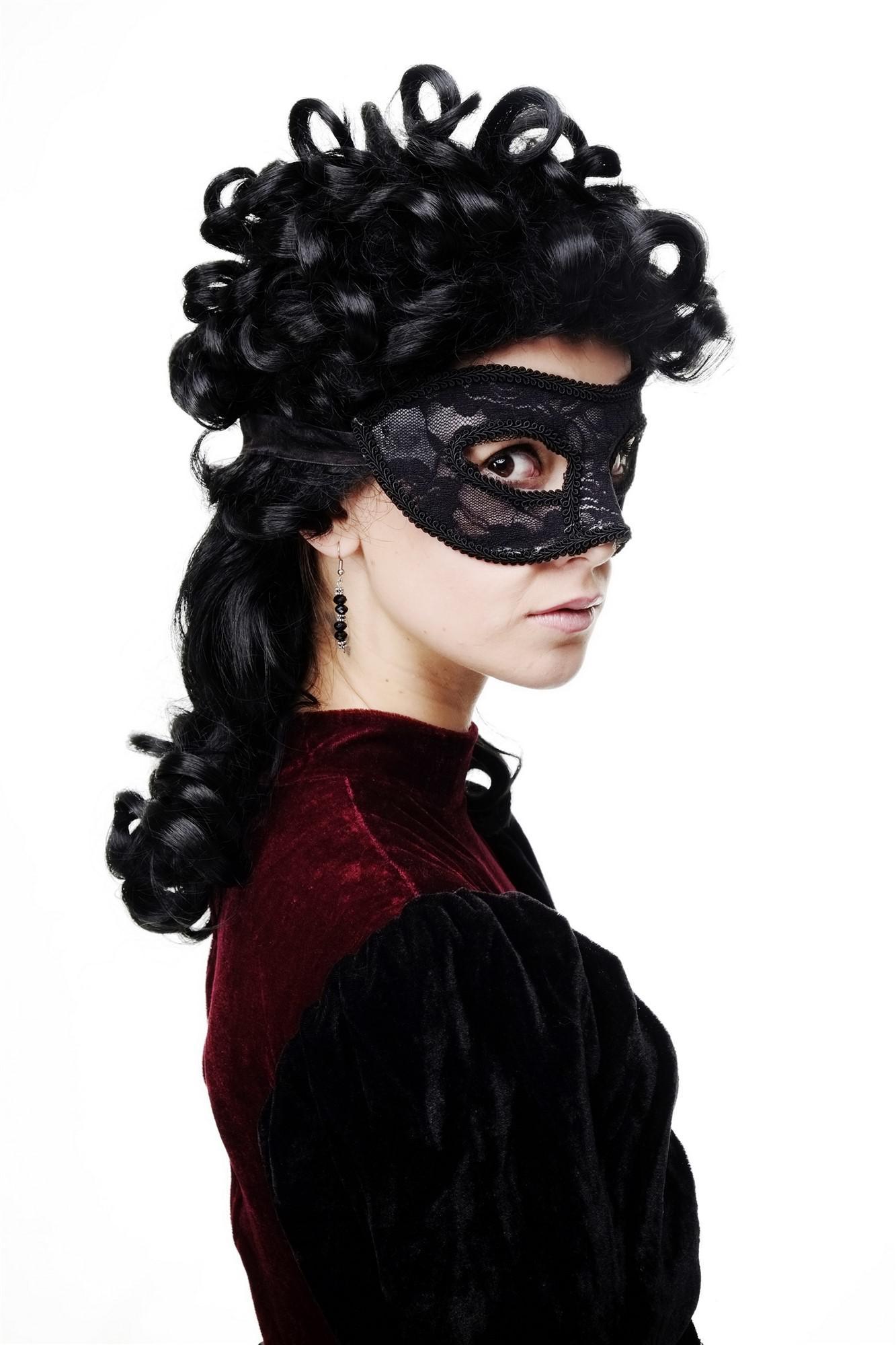 Karneval Venezianische Maske Halbmaske Domino Schwarz Maskenball Gothic LS-004