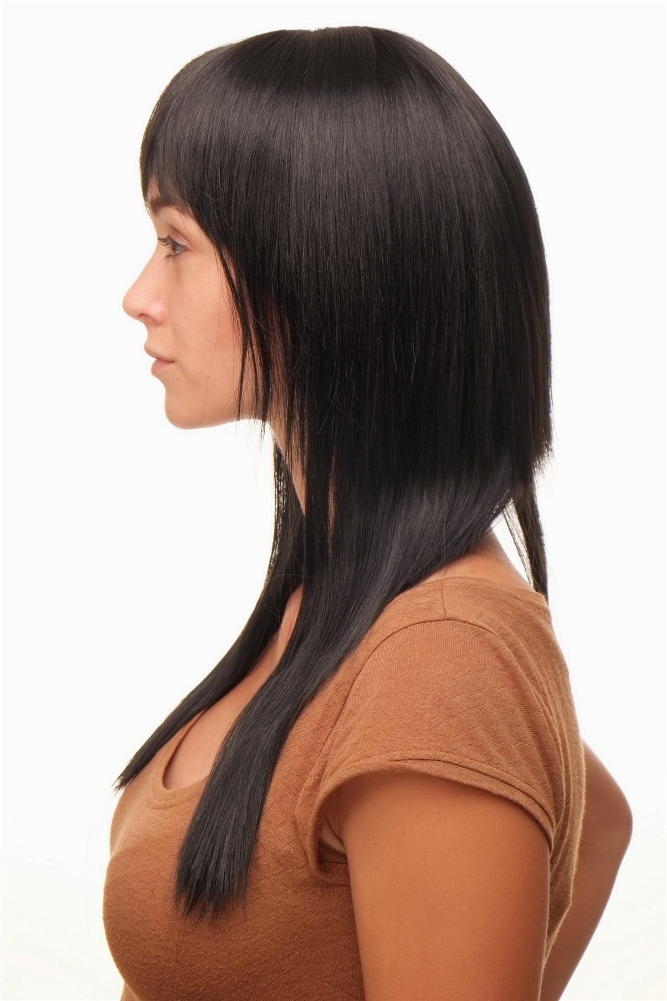 Schicke Gestufte Perucke Sexy Schwarz Lang Glatte Haare Frisur 9214