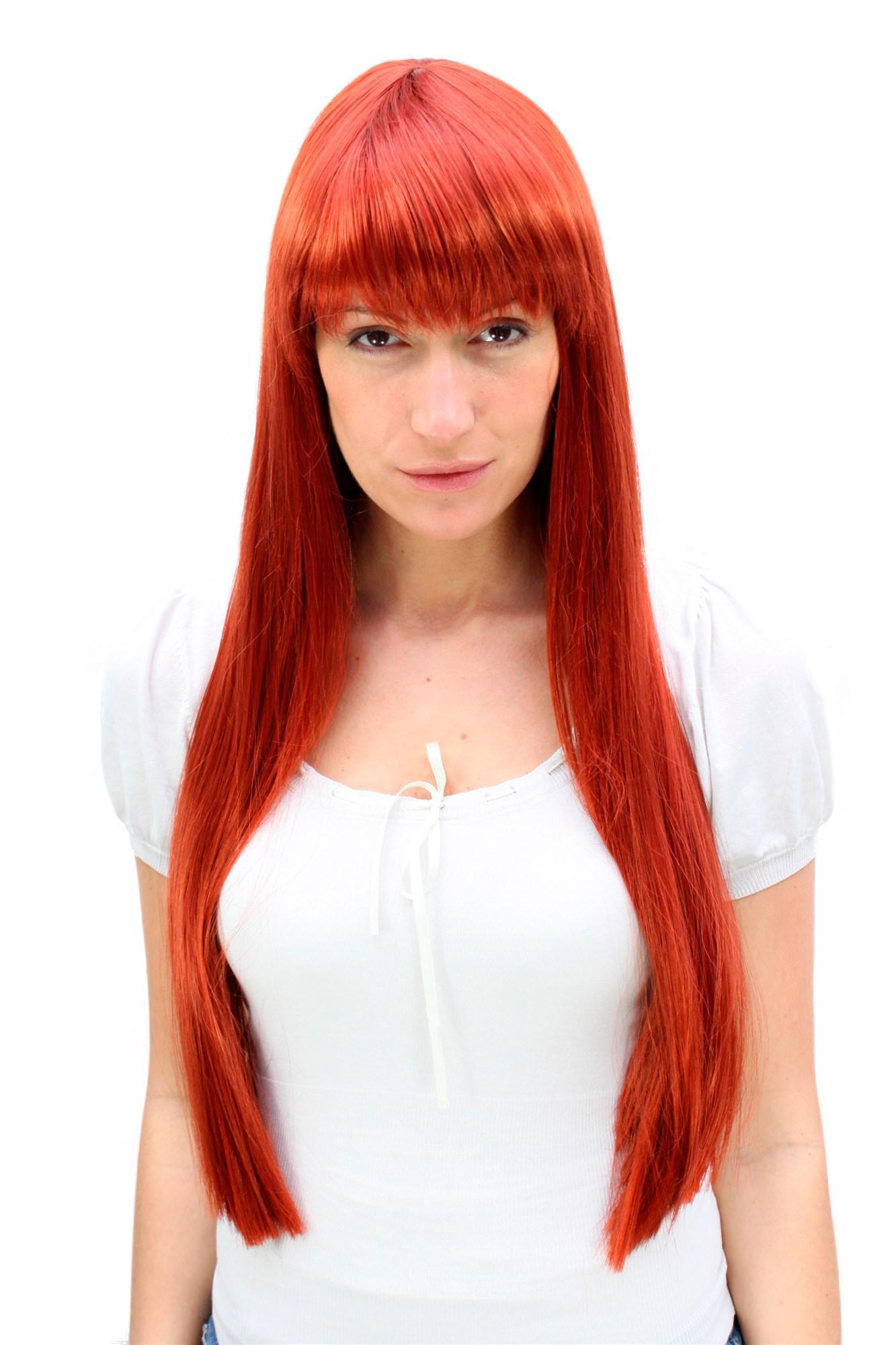 Perücke Kupfer Sündhaft Rot Langes Und Glattes Haar Mit Pony Frauen