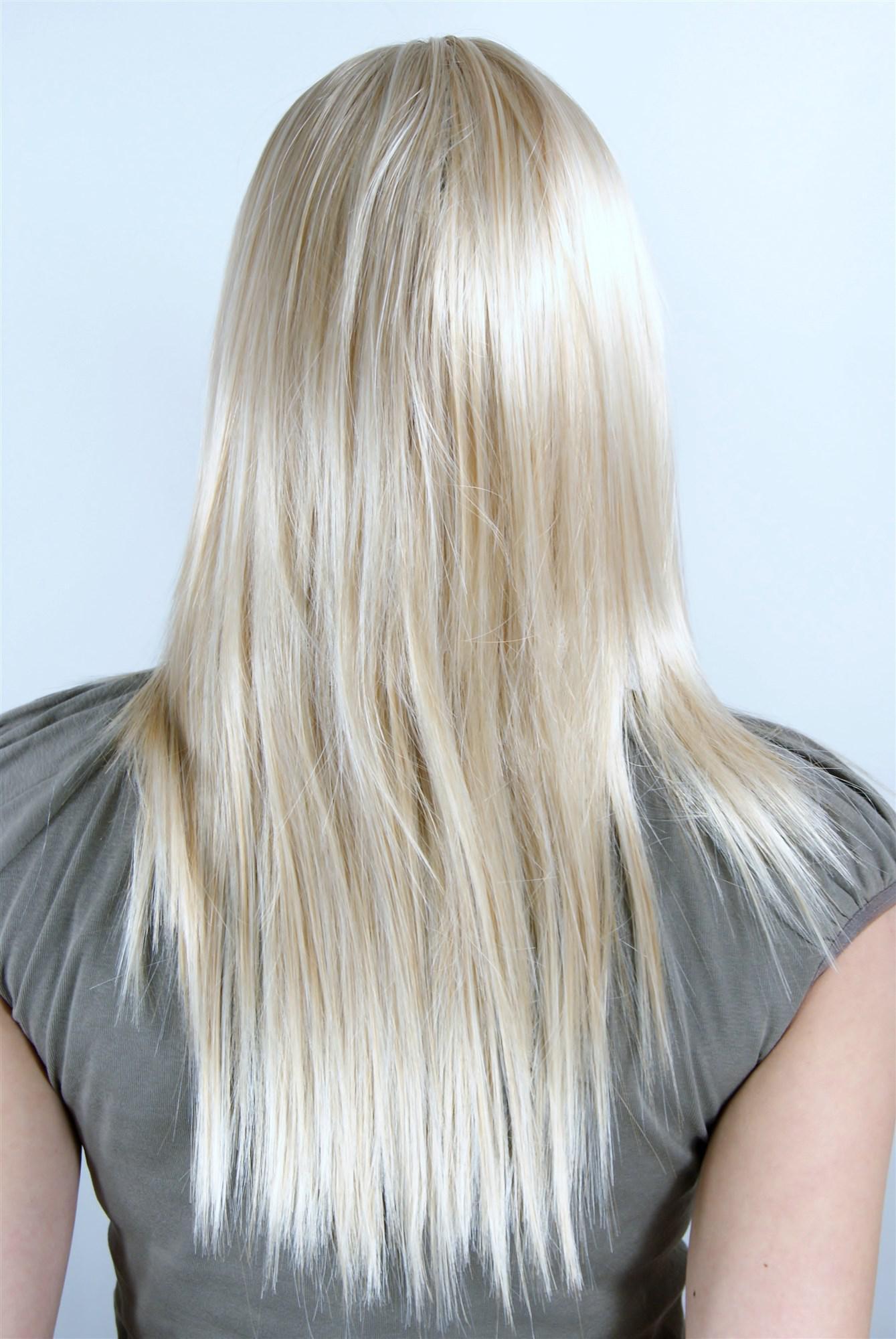 super sexy damen perücke blond lichtblond mit pony gestufte haare