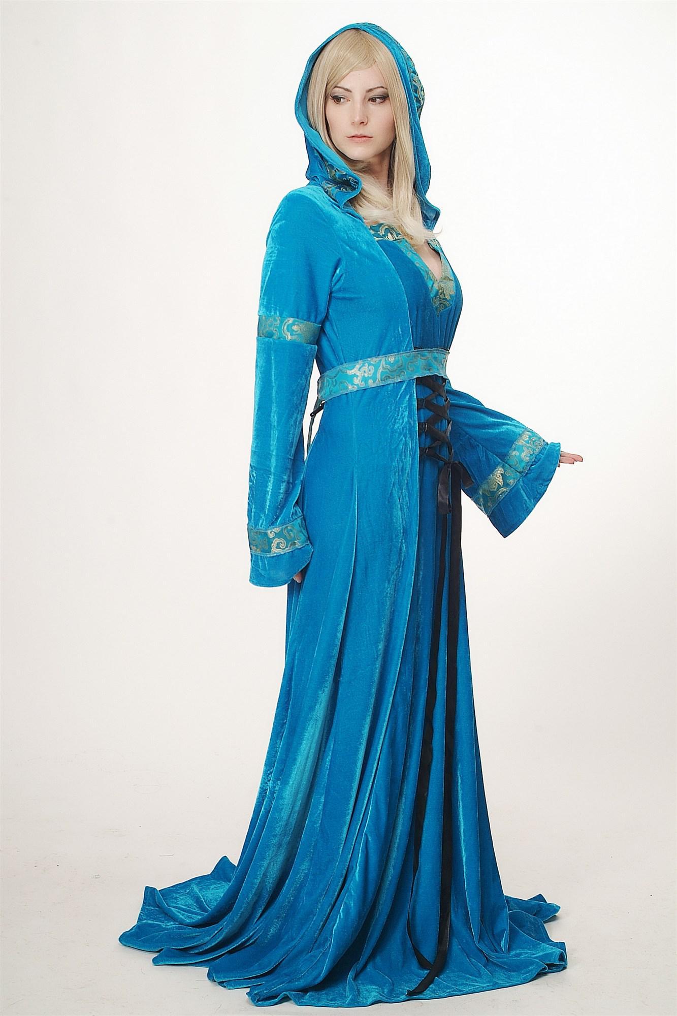 Kostüm Damen Aufwändig Kleid Elfe Waldelfe Märchen Mittelalter