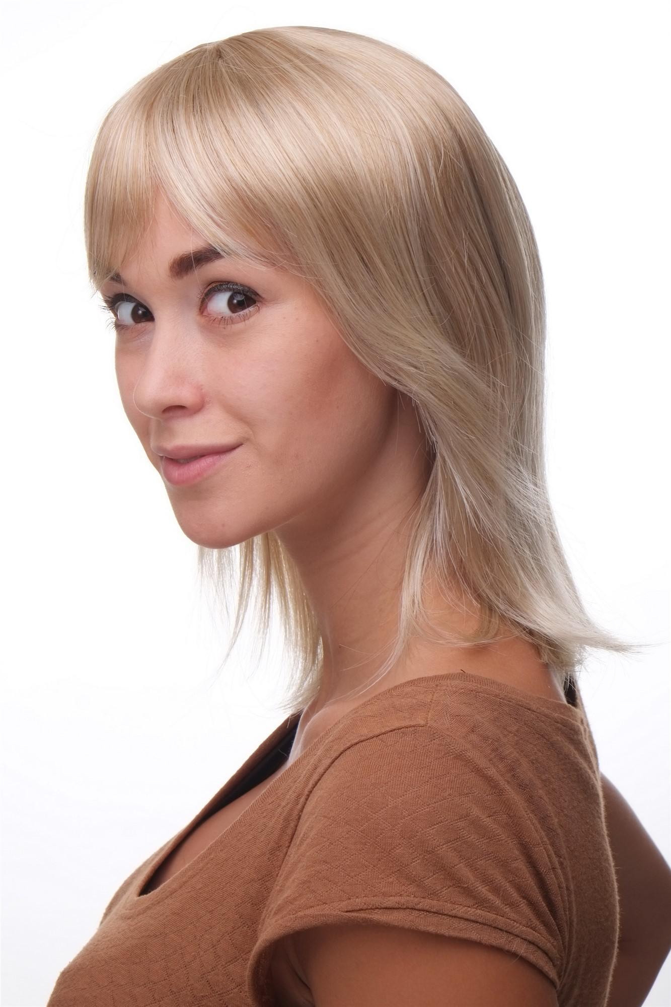 Damen Perücke Blond Wilder Schnitt Sexy Pony Halblange Haare Ma