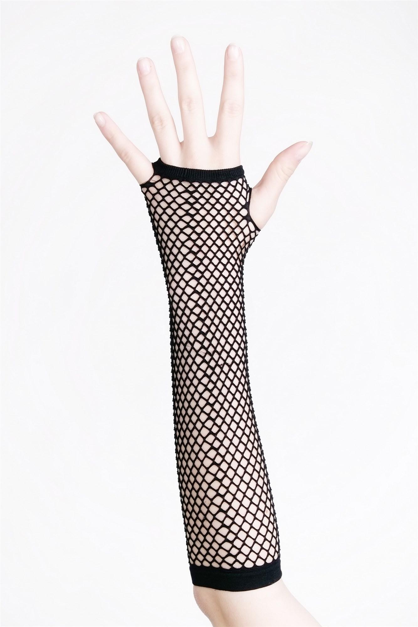Karneval Handschuhe Netzhandschuhe Fishnet Neon Grün Punk Wave Goth 80er Z065