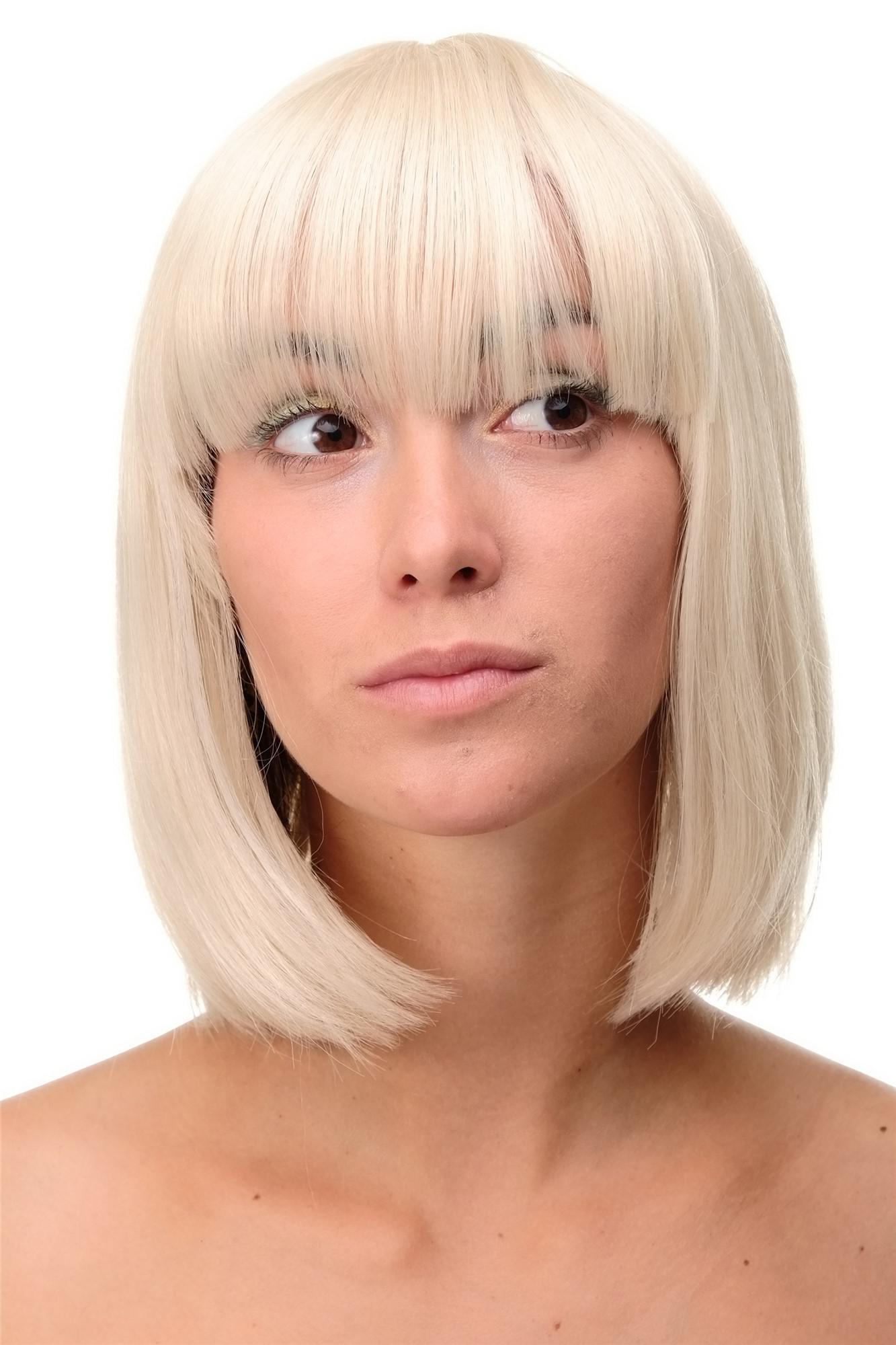 Sexy Wig Perücke Page Bob Blond Hellblond Goldblond Mix Glatt 25cm
