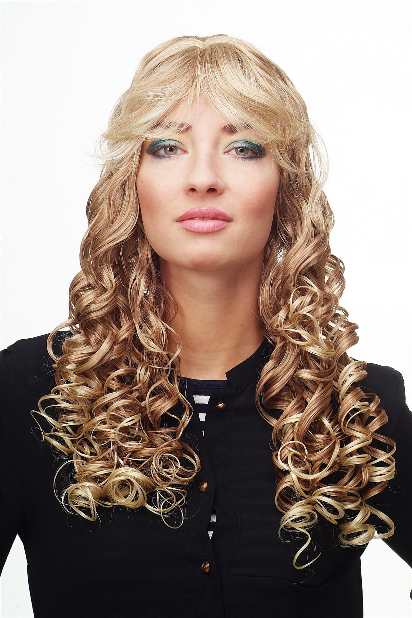 Damenperucke Perucke Blond Mischung Lang Korkenzieher Locken Pony Dw89 27t613
