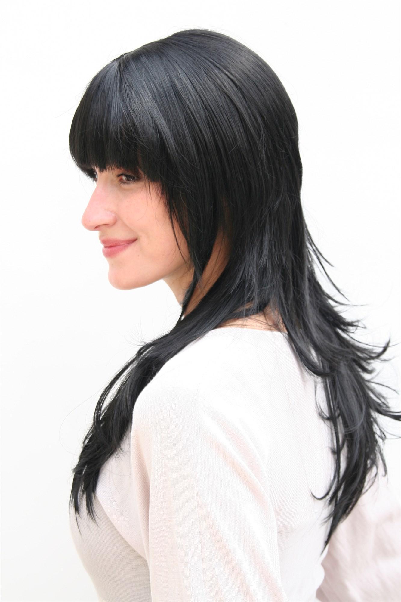 Damenperücke Wig schwarz lang gestuftes Haar Haarersatz ca