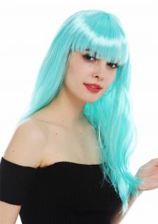 Perücke Karneval Damen lang glatt Pony weiß blau hellblau Perrücke Frau