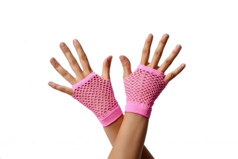 Handschuhe Netzhandschuhe Pink Rosa fingerlos Netz 80er Punk Rocker Gothic Emo