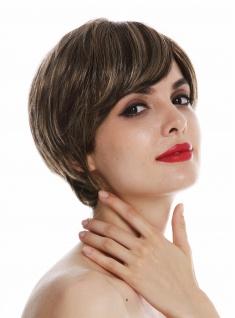 Perücke Damen Frauen Monofilament kurz glatt Bubikopf Braun Blond Gesträhnt