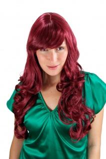 Damen Perücke große kräftige Locken Pony rot-lila lang Haarersatz 60 cm 285-39