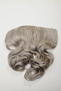 Clip-In Extension Haarverlängerung breit hitzefest 5 Clip lockig grau silbergrau