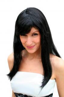 Perücke, schwarz, lang, glatt (Party-Wig, Perrücke) NEU peluca parrucca perruque