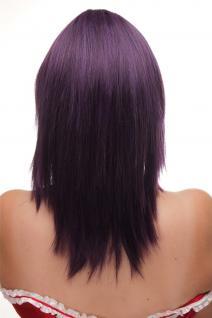 Damen Perücke Pony schulterlang glatt dunkle Lila Violett Blau Mischung GF-W2203 - Vorschau 4