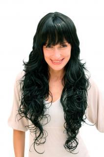 Damenperücke, Wig, schwarz, lang, wallendes Haar, Haarersatz, ca. 70 cm, 4306-1B