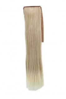 Haarteil ZOPF Blond-Mix glatt 45cm YZF-TS18-24BT613 Band Klammer Extension