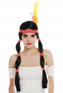 Perücke Damen Karneval lang Indianerin Indianer-Frau Zöpfe schwarz Kopfschmuck