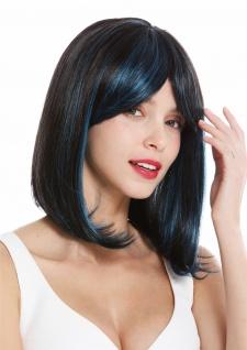 Damen Perücke schulterlang Longbob glatt Balayage schwarz-braun blau Strähnen