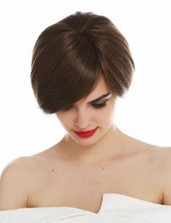 Perücke Damen Monofilament handgeknüpft kurz glatt Scheitel Braun Goldbraun - Vorschau 5