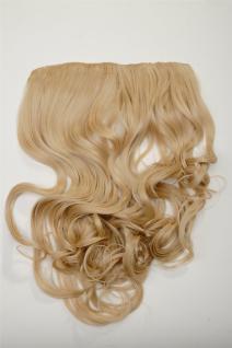 Clip-In Extension Haarverlängerung breit hinten 5 Clip lockig blond mittelblond