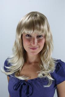 Perücke blond-mix gestuft wellig Spitzen gesträhnt Pony lang 50 cm 1548-15BT613
