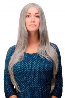 Perücke Grau Silbergrau-Schwarz-Mix glatt Mittelscheitel 80 cm lang Fee 3217-51