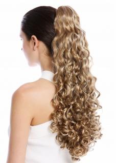 Haarteil Zopf Pferdeschwanz lang voluminös stark gelockt lockig Blond Gesträhnt