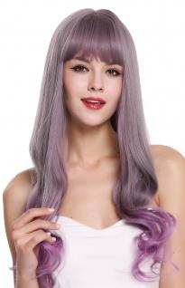 Perücke Damenperücke lang glatt wellige Spitzen Pony Grau Violett Lila Mix