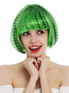 Perücke Karneval Damen Bob Pony schwarz grün gesträhnt gestreift getigert