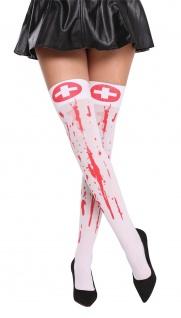 Damenstrümpfe Krankenschwester Halloween weiß Blut rot blutverschmiert Zombie