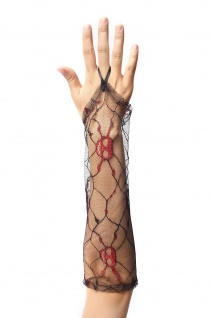 Handschuhe Damen Spitze Netz Schwarz Totenkopf Design Punk Gothic Hexe Vampirin