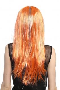 Perücke Karneval Fasching Damen lang glatt Pony orange Glitter Strähnen XR-003 - Vorschau 3