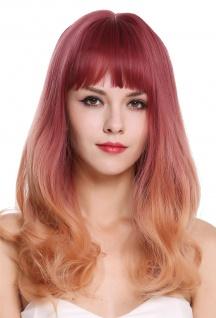 Perücke Damenperücke lang Pony glatt lockige Spitzen Lila Orange Blond Balayage