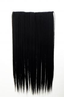 Haarteil Haarverlängerung breit 5 Clips dicht glatt Schwarz 60 cm L30172-1B