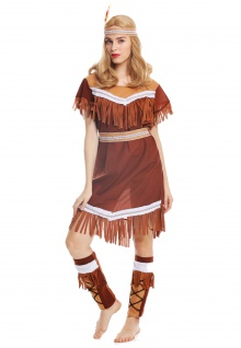 Kostüm Damen Frauen Damenkostüm Karneval lang Indianerin Gr. M W-0211 - Vorschau 5