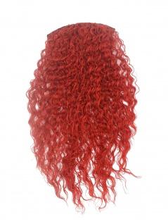 Halbperücke Clip-In Extension 7 Clips Haarverlängerung stark gelockt 70 cm rot