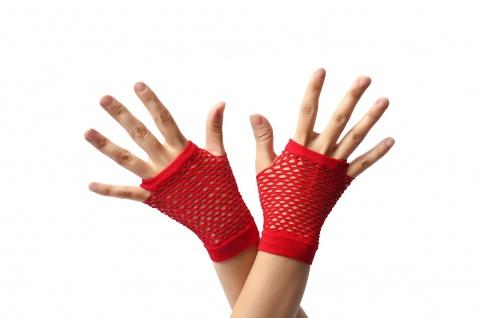 Handschuhe Netzhandschuhe Rot fingerlos Netz kurz 80er Punk Rocker Gothic Emo