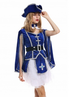 Kostüm Damen Frauen Karneval Barock Soldat Musketier Edelfrau Hut blau M W-0284 - Vorschau 3