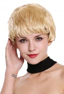 Echthaar Damenperücke Perücke kurz strähnig wetlook platinblond hellblond blond