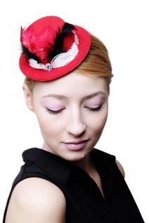 Fascinator Miniatur Hut Mini Zylinder rot Damen Burlesque Feder Tüll Hutband H39