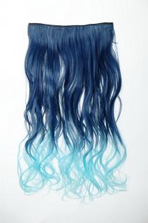 Extension Haarverlängerung Clip-In 5 Clip lockig zweifarbig Ombre Blau 50cm lang