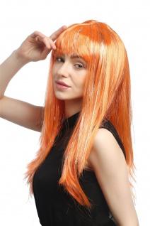 Perücke Karneval Fasching Damen lang glatt Pony orange Glitter Strähnen XR-003 - Vorschau 2