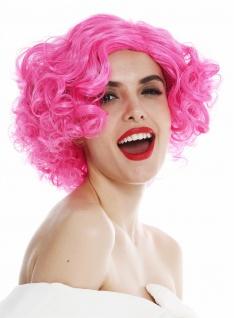 Perücke Damen Karneval kurz Mittelscheitel Locken lockig pink rosa 20er 30er