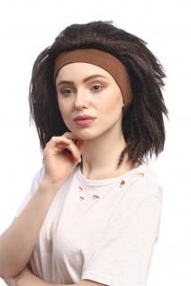Perücke Damen Karneval Stirnband Schwarz Braun gekreppt Volumen Latina Karibik - Vorschau 2