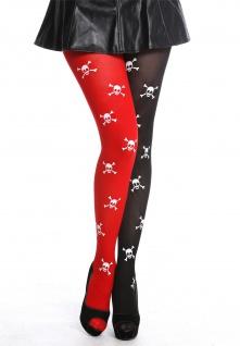 Strumpfhose Damenstrumpfhose Halloween Rot Schwarz Totenköpfe Pirat Punk K0820