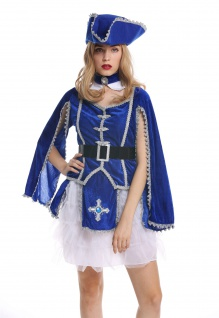 Kostüm Damen Frauen Karneval Barock Soldat Musketier Edelfrau Hut blau M W-0284 - Vorschau 4