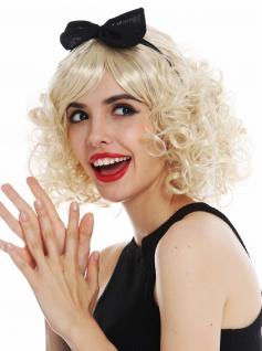 Perücke Karneval Damen Blond Locken lockig Haarreif schwarz Schlaufe 50er 60er