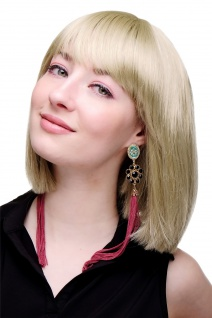 Perücke Damenperücke kurz Bob Longbob Pony glatt blond goldblond 7803-22 Frauen